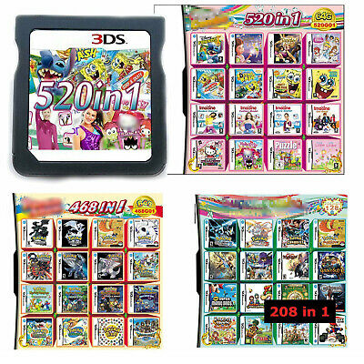 520 468 208 IN 1 Game Cartridge Multicart Für NES DS NDS NDSL NDSi 3DS 2DS XL LL