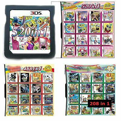 520 468 208 IN 1 Game Cartridge Multicart For DS NDS NDSL NDSi 3DS 2DS XL LL New