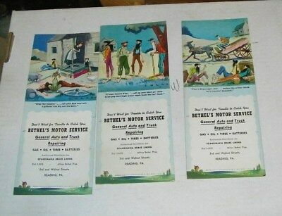 3-vintage unused blotters Bethel's Motor Service Reading,Pa cute old guys