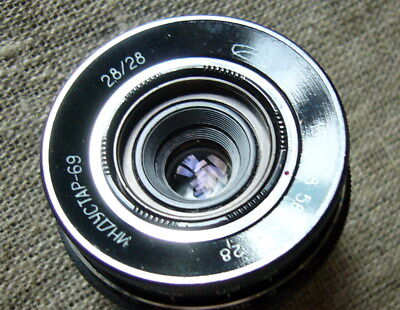 Lens Industar-69 2.8/28 for Chaica cameras. USSR. Vileika. Zenit. 1970-th