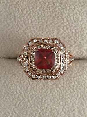 Vintage Jewellery Rose Gold Ring Ruby with White Sapphires Antique Dress Jewelry