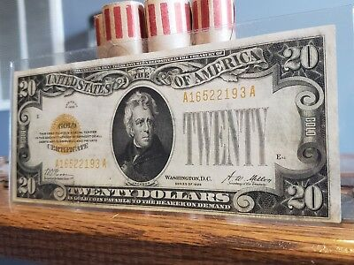 1928 $20 Dollar Gold Certificate ** High Grade**au/cu Beautiful Note