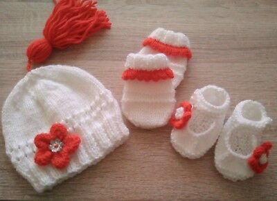 Hand Knitted Baby Tassel Hat, Mittens And Shoes. Early Baby Or Doll