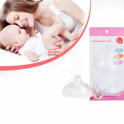 2pcs Reusable Silicone Nipple Shield Breastfeeding Nursing Cover Protector UK
