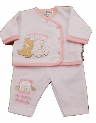 BNWT Tiny Baby Premature Preemie Baby 2 piece Teddy bear suit in pink or blue