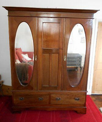 Original  Victorian  Inlaid  Triple  Wardrobe