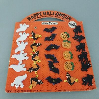 Vintage Halloween Decorative Pins 1988 Fibre-Craft Materials Black Cat Pumpkin..