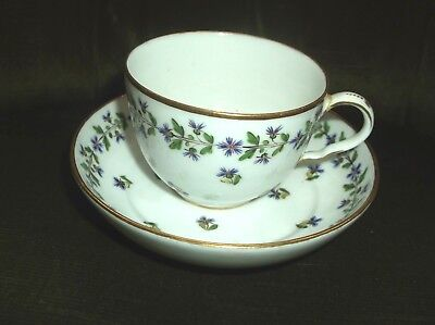 Antique 19Th Century Continental Porcelain Hand Painted Cup & Saucer, Blue Mark