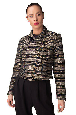 DARLING Tweed Biker Jacket Size M Shiny Zipped Cuffs Cropped Collared RRP €210