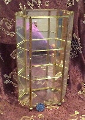 Brass & Glass, Mirror Backed, Small Display Case - Miniature Figures / Thimbles?