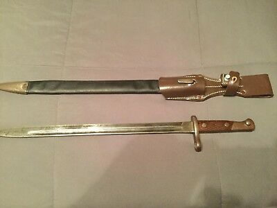 1913 Spanish Artilleria Bayonet With Leather Sheath And Repro Frog