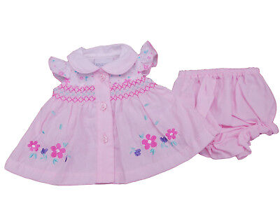 BNWT Tiny Baby Reborn Premature Preemie Baby Girl smock summer dress  set outfit