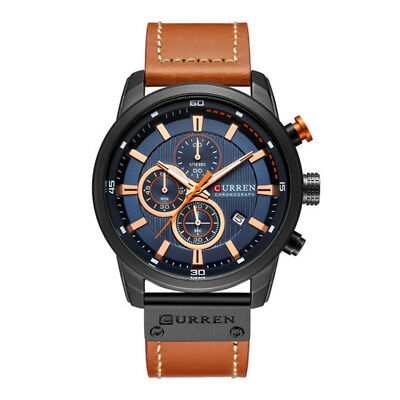 Curren 8291 Luxury Brand Men Leather Calendar Sports Chronograph Quartz Watch