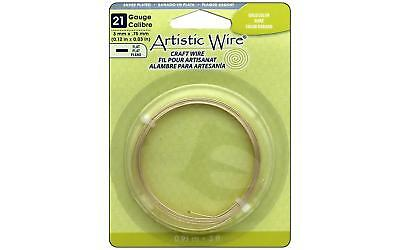 Artistic Wire Flat 21Ga 3mm Gold Color 3ft