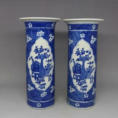 Chinese antique Ming Blue and white flowers pattern Porcelain vase pair