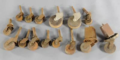 Lot of 15 Vintage Antique Wood Wheels Casters Furniture Table Chair Dresser