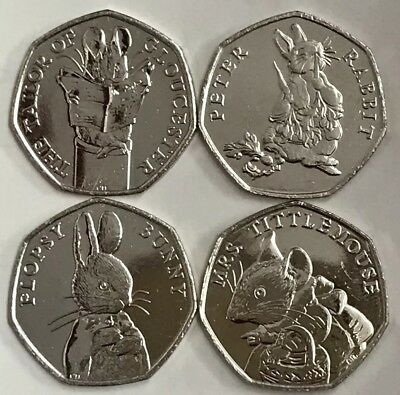 2018 Full Set Of 4 Beatrix Potter Series 50p Fifty Pence Coins Rare Free P&P
