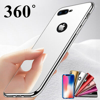 360° Tempered Glass + Luxury Plating Mirror Hard Case Cover For iPhone Xs 8 Plus