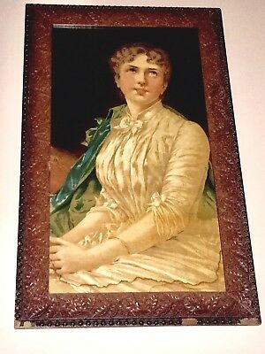 LARGE Antique Victorian Woman Portrait Ornate Hand Carved Oak Frame Gorgeous