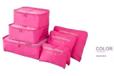 6Pcs Hot Pink Waterproof Packing Cube Travel Pouch Luggage Organiser Storage Bag