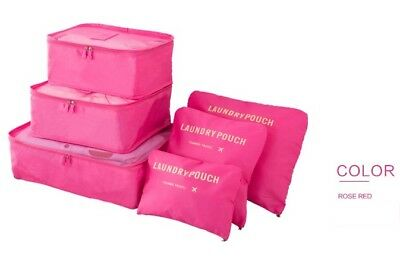 Set of 6 Pink Waterproof Packing Cube Travel Pouch Luggage Organiser Storage Bag