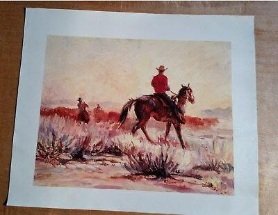 """L MUSGRAVE - Cowboys Working The Herd Canvas Giclee Print Surface 16X20"""" Arizona"""