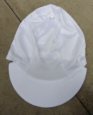 Lycra Riding Hat Silk skull cap cover Plain WHITE with or without pompom