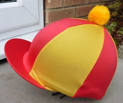 Lycra Riding Hat Silk Skull cap Cover RED & YELLOW * With OR w/o Pompom