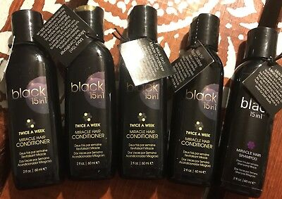 Lot of 5 BLACK 15 in 1 Miracle Hair Conditioner And Shampoo 2 oz TSA Approved