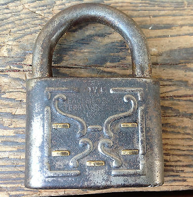 Antique Eagle Lock Co Padlock Terryville Conn USA 9V4