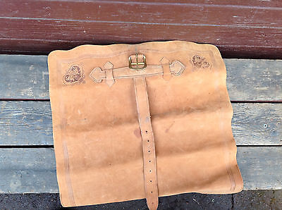 Very Cool Soft Rolled Leather Map or Music Scroll Carrier - Embossed & w/Buckle