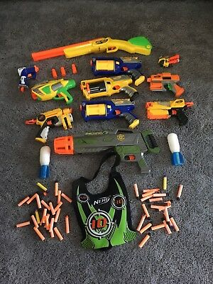 NERF 11 GUN LOT, all guns used and tested, Ammo, WII game, Vest !!!!