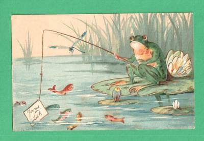 1912 Fantasy Art Postcard Frog Fishing Hooks Note Lily Pads Pond Dragonfly Fish