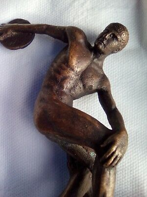 Male nude bronze disc thrower 13cm tall