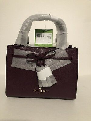 9aed739dd38b NWT Kate Spade Small Isobel Deep Plum Burgundy Leather Hayes Street Sam  Purple