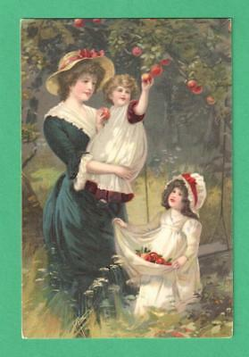 Vintage Art Postcard Mother Daughters Apple-Picking Orchard Swing