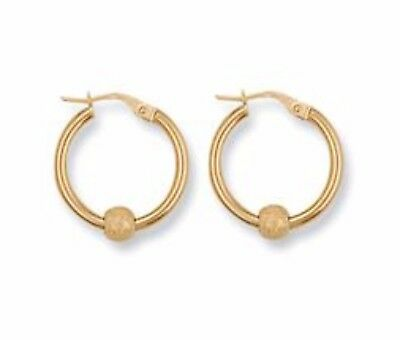 1751cab64 NEW UN OPENED 9ct Gold Glitter Ball Creole Hoop Earrings. 20 mm ...