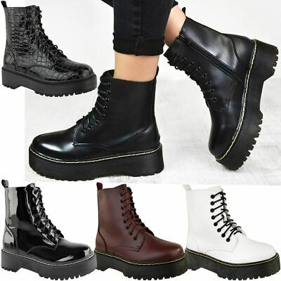 Womens Ladies Doc Chunky Lace Up Ankle Boots Platform Icon Retro Goth Punk Black