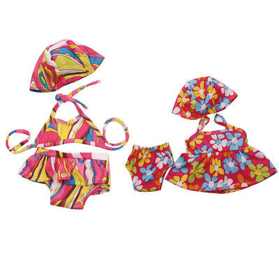 2 Set Doll Clothes Bikini Floral Swimwear For 18inch AG American Doll Doll Accs