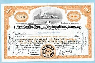 Detroit and Cleveland Navigation Company, share certificate dated 1951.
