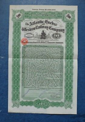 Atlantic, Quebecand Western Railway Company, £100 bond dated 1907.