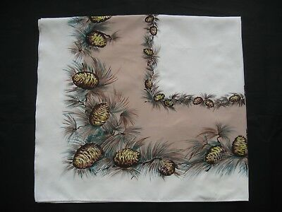 """Vintage California Hand Prints Pine Cone Tree Branches Tablecloth 52"""" x 48"""""""
