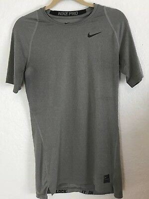 Nike Dri Fit Compression Mens Size Large Grey Athletic Workout T Shirt