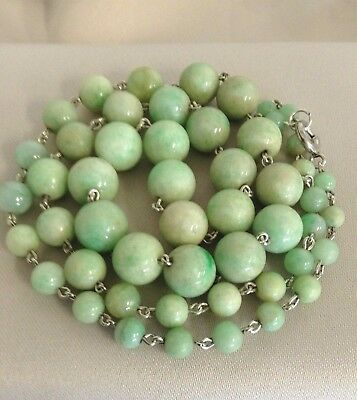 """Old Chinese Natural JADEITE BEAD NECKLACE with Sterling Silver Links, 20"""", 39.6g"""