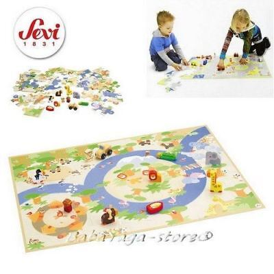 Children's Sevi Safari Wooden Puzzle NEW Playset with Miniatures