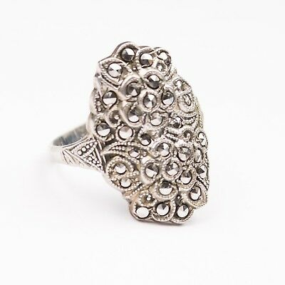 Antique Art Deco Uncas Sterling Silver Filigree & Marcasite Flower Ring Size 8.5