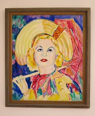 Original Vintage Oil Painting Modern Style Woman In A Yellow Hat Vivid Colors!