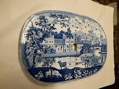 Blue transfer printed pottery drainer Audley End. C.1825