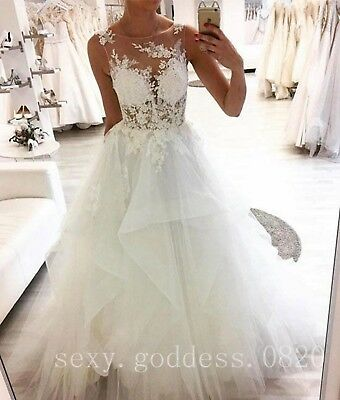 Sheer Lace Appliques Beach Wedding Dresses Tiered Bohemian Boho Bridal Gowns