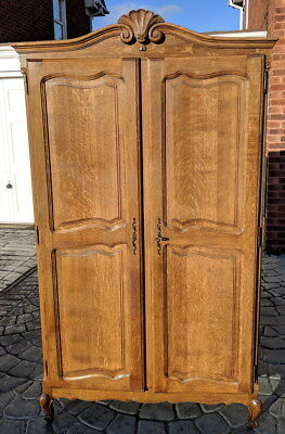 Louis XV Style Vintage French Carved 2door Armoire Wardrobe
